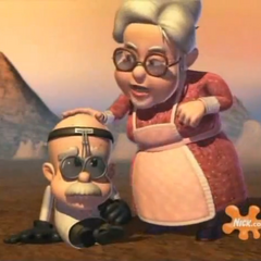Grandma Taters with Professor <a href=