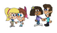 Timmy and Sheen Holding Hands With Cindy and Libby