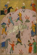 Firdawsi - Rustam Slays the White Div (the 7th Feat) - Walters W60091A (cropped)