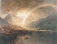 Озеро Баттермир с радугой и ливнем