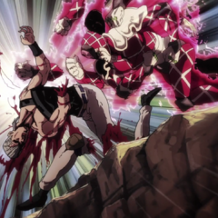 Completely destroying Polnareff's legs and right arm