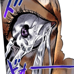 Okuyasu's eyes deflate as the Stand cures him of insomnia