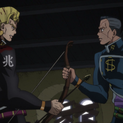 Okuyasu tires to convince Keicho to surrender the <a href=