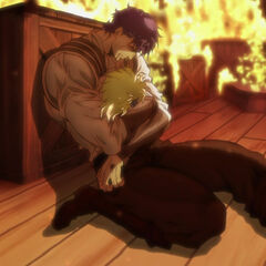 Dio's head being cradled in Jonathan's lifeless arms