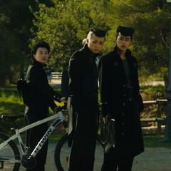 Josuke, Okuyasu and Koichi, greeting Angelo