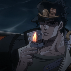 Jotaro lighting a cigarette