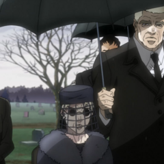 Erina with Speedwagon and Smokey at Joseph's funeral