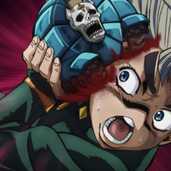 Koichi is attacked in the face by Sheer Heart Attack.