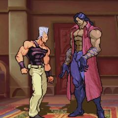 Devo stands taller than Polnareff when upright