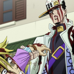Jotaro insults Kira's watch before remarking that he'll break his face.
