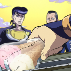 Mikitaka uses Earth Wind and Fire to transform his fingers into ice-cream.