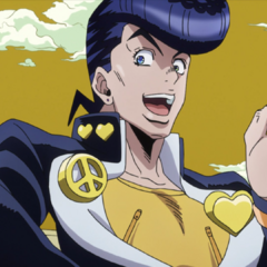 Josuke discusses his plan to collect Kameyu stickers using <a href=