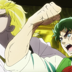 Dio being beaten by a furious Jonathan