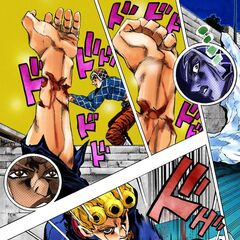Giorno maims his own arm to help Mista defeat Ghiaccio