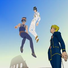 Narancia's spirit joining Abbacchio & Bucciarati's spirit up above