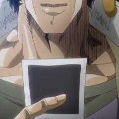 Jotaro giving a fond last look at the picture of his friends and him