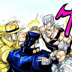 Jotaro and Joseph bidding goodbye to Polnareff after defeating DIO