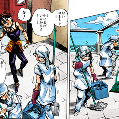 Pericolo's first appearance, disguised as a cleaner along with <a href=