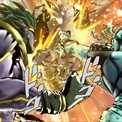 Star Platinum unleashing a dual barrage with <a href=