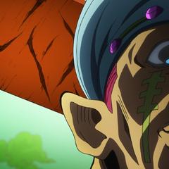 Toyohiro glares menacingly as Josuke.