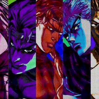 Pucci along with other main antagonists in <i>All Star Battle</i>