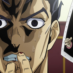 Kira anxiously biting his fingernails after killing Hayato.