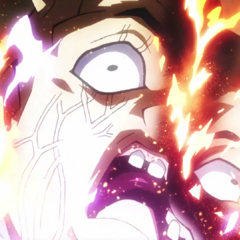Shigechi's face partially exploding from Killer Queen's bomb.