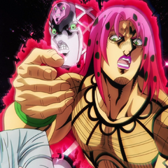 Watching from behind a startled Diavolo