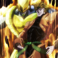 DIO alongside his infamous Stand, <i>The World</i>