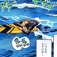 Ojiro as a surfer