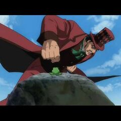 Zeppeli, about to punch the frog.
