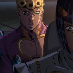 Bucciarati driving while Giorno asks how it can be that he's dying