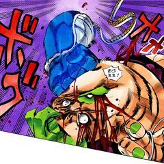 Sticky Fingers extending its arm to defeat Pesci