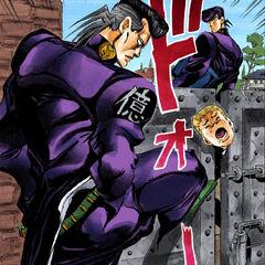 Okuyasu's first appearance, assaulting Koichi
