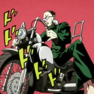 Usui on a motorbike, JoJo-style