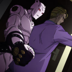 Kira hides behind a door from <a href=