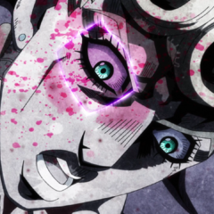 Giorno's right eye is carved out by Baby Face