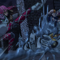 King Crimson's attack is narrowly dodged by Silver Chariot