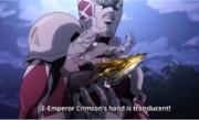 Emperor Crimson's hand is translucent