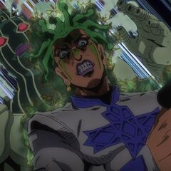 Cioccolata attempting to destroy the tree Giorno created.