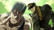 Jotaro and Polnareff prepare to beat up Alessi (Anime)