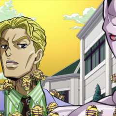 Kira warning Shigechi of Killer Queen's power.
