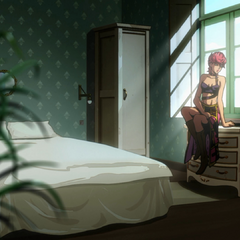 Trish under Team Bucciarati's protection; gazing out a window
