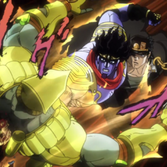 Star Platinum punches through The World's chest