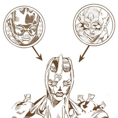 Diagram showing its status as a fusion between Whitesnake and the Green Baby