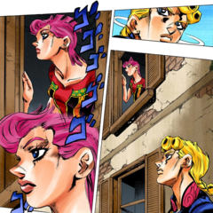 Trish looking out of window in a hidden house; Giorno watches her at the same time