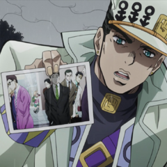 Jotaro interrogating Hayato about his connections to Kira.