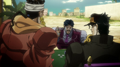 Jotaro takes on D'Arby in a game of poker.