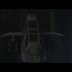 Closeup of one of Bad Company's helicopters.