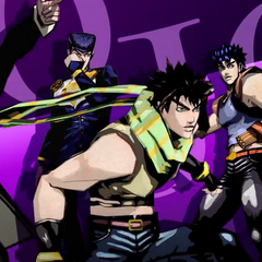 Jotaro with other JoJos in the opening for <i>Diamond Records Reversal</i>